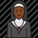 cross, female, nun, priest, religion, woman icon