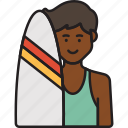 male, surfer, boy, man, summer, surfboard icon