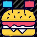 burger, flage, independence day, usa, hamburger, cheeseburger, fast food