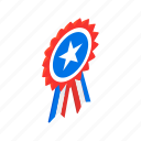 american, independence, isometric, july, ribbon, rosette, usa icon