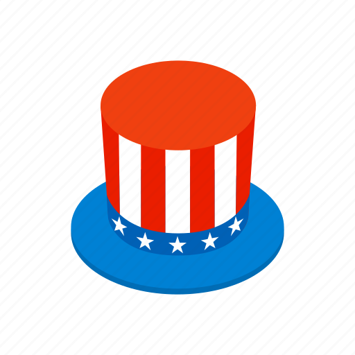 america, american, hat, independence, isometric, july, usa icon