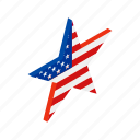 american, holiday, independence, isometric, july, star, usa icon