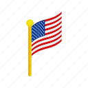 american, flag, independence, isometric, july, pole, usa icon