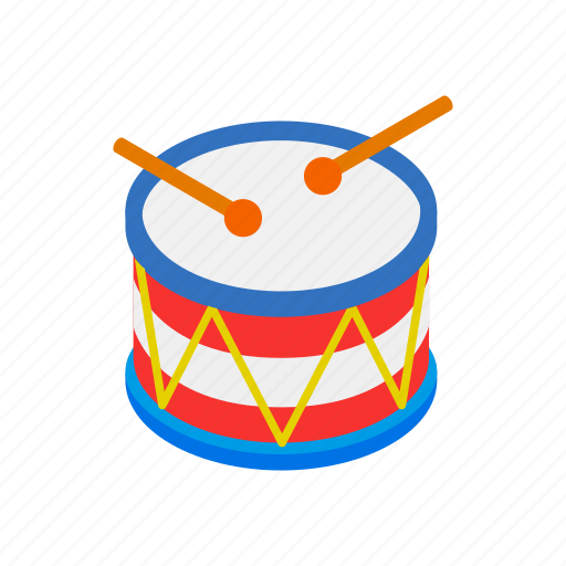 america, drum, holiday, isometric, music, percussion, sound icon