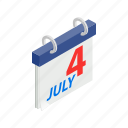 american, calendar, date, independence, isometric, july, usa icon