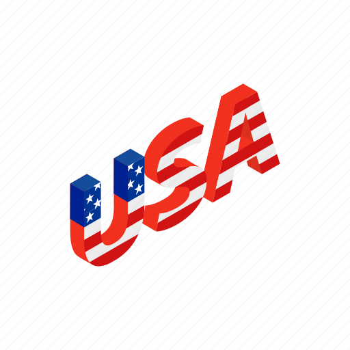 american, country, independence, isometric, july, letter, usa icon