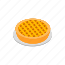 american, dessert, food, isometric, pastry, pie, sweet icon