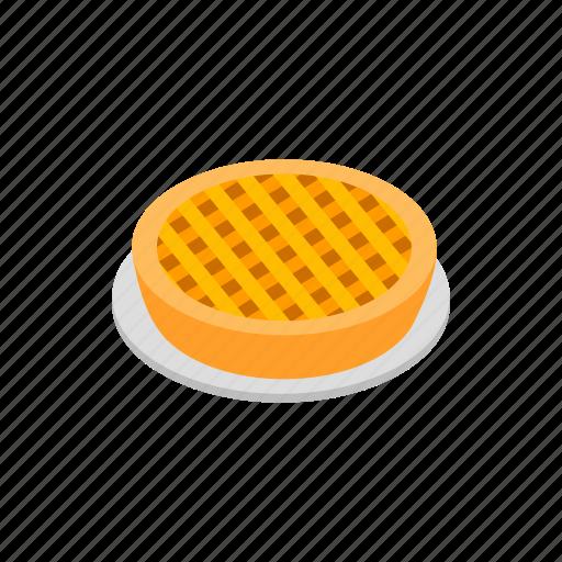 american, dessert, food, isometric, pastry, pie, sweet icon