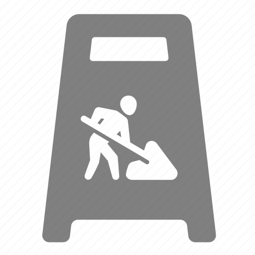board, dig, sign, under construction, warning, worker icon
