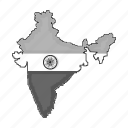 country, flag, geography, india, location, map, territory icon