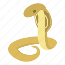 animal, cartoon, cobra, illustration, python, reptile, wild icon