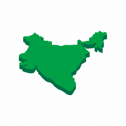 asia, cartography, country, geography, india, isometric, map icon