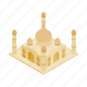 agra, dome, india, isometric, monument, palace, taj icon