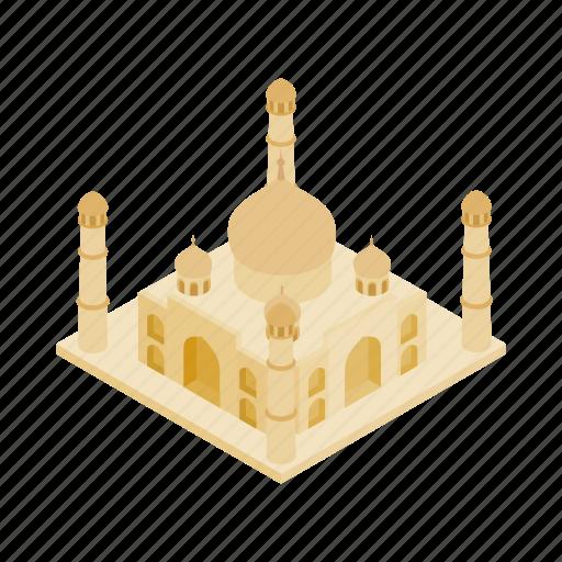 agra, dome, india, isometric, monument, palace, taj icon