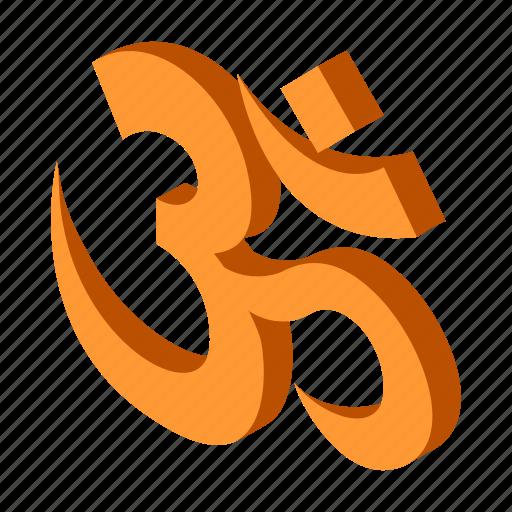 hindu, india, isometric, om, religion, religious, yoga icon