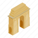 architecture, asia, delhi, gate, india, isometric, landmark icon