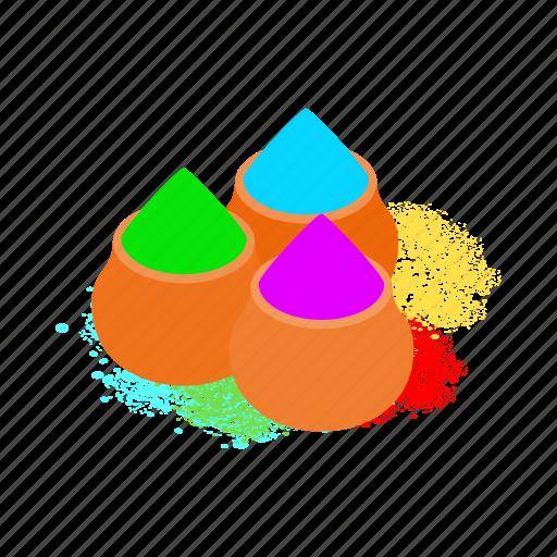 colorful, hindu, india, isometric, market, powder, tika icon