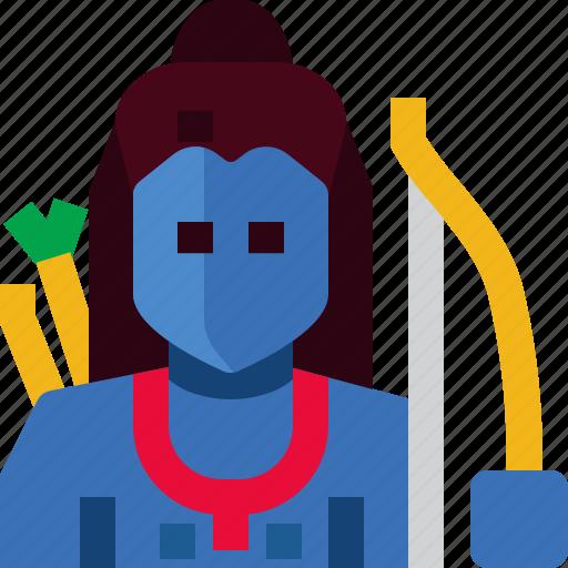 arrow, avatar, god, hindu, india, person, rama icon