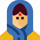 india, woman, avatar, cloths, girl, person, tradition icon