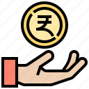 money, coin, india, hand, currency icon