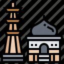 architecture, building, india, landmark, minar, qutub icon