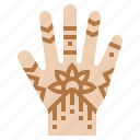 hand, henna, india icon