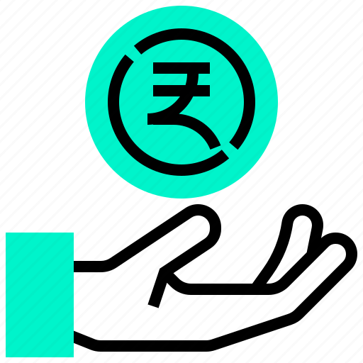 coin, currency, hand, india, money icon