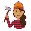 .svg, emprego, indian woman professions, job, lenhadora, mulher, professions, trabalho, woodcutter, work icon