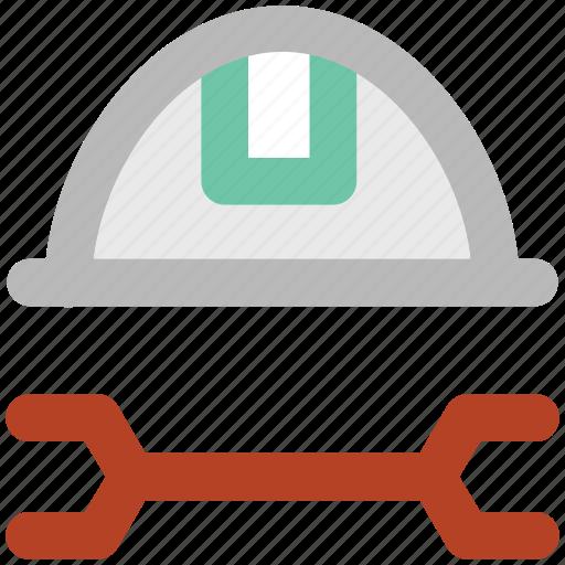 helmet, industrial helmet, labor helmet, repairing tool, skullgard, wrench icon