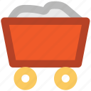 barrow, cart, coal trolley, concrete trolley, industrial, mine cart, trolley icon