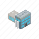 building, industry, isometric, power, smoke, steam, thermal icon