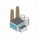 building, industry, isometric, power, smoke, steam, thermal