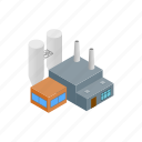 building, chimney, industry, isometric, power, smoke, thermal icon