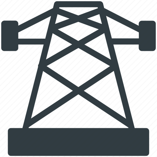 electric power pylon, electric pylon, high voltage tower, power mast, power transmission pole icon