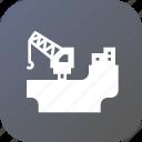 crain, digging, industry, load, oil, rig, ship