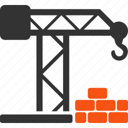 brick wall, build, building crane, construction, development, industry, project icon