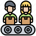 manufacture, labour, worker, process, assembly icon