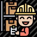 storage, product, warehouse, distributor, checklist icon