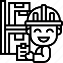 product, distributor, warehouse, storage, checklist icon