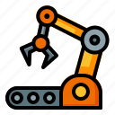 arm, industry, manufacture, automation, machine, robotic, conveyor icon
