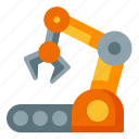 robotic, automation, industry, conveyor, arm, machine, manufacture icon