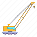 high crane, illustration, machinery, manual, repairing, sign icon