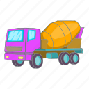car, concrete mixer, illustration, machinery, manual, mixer, sign icon