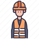 factory, helmet, industrial, industry, man, person, worker icon