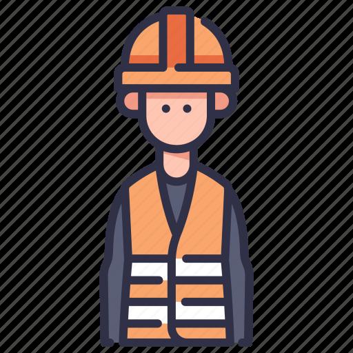 factory, helmet, industrial, industry, man, person, worker icon