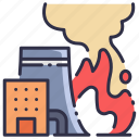 danger, emergency, fire, flame, industrial, industry, smoke icon