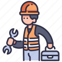 engineer, industry, maintenance, repair, service, technician, worker icon