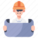 architect, construction, engineer, foreman, helmet, industrial, work icon