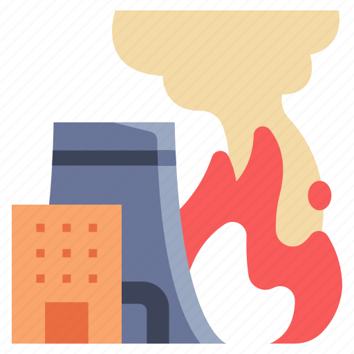 danger, emergency, fire, flame, industrial, industry, smoke icon