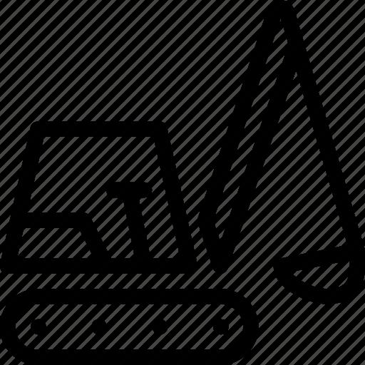 equipment, excavator, industry, line-icon, machine icon